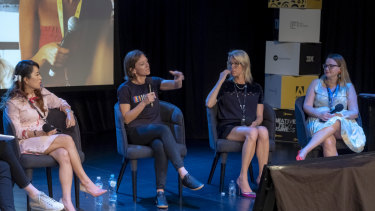 L-R:  Grace Wong, Founder, Liven, Laura Youngson, Co-Founder, Ida Sports and Equal Playing Field, Sarah Hamilton supernova and Sarah Moran, Managing Director, Girl Geek Academy at a 'Truth and lies behind female founder' panel, Pause Fest in Melbourne