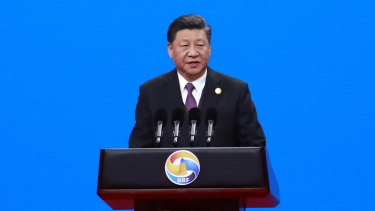 Chinese President Xi Jinping delivers his speech for the opening ceremony of the second Belt and Road Forum.