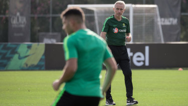 Coach's call: Bert van Marwijk oversees training in Turkey.