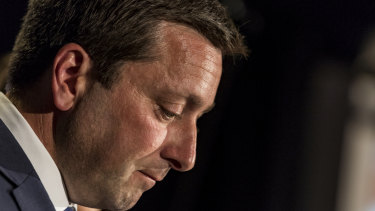Opposition Leader Matthew Guy concedes defeat.