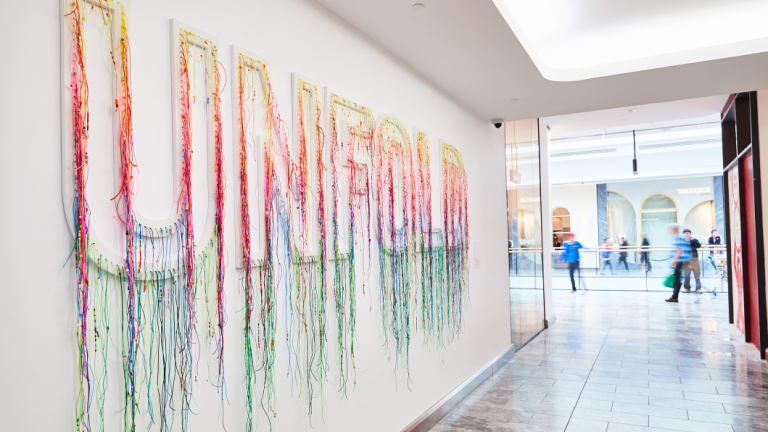Suzie Stanford's artwork 'Unfold' at The Glen shopping centre.