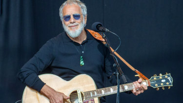 Yusuf Islam, formerly known as Cat Stevens, performs at the National Remembrance Service in Christchurch.