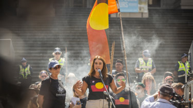 Former Northcote state MP Lidia Thorpe addresses those gathered at Parliament House for Melbourne's Invasion Day rally on Saturday.