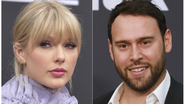 Taylor Swift and Scooter Braun, who  purchased Big Machine Records and acquired Swift's master recordings.
