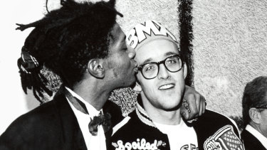 Jean-Michel Basquiat and Keith Haring at the opening reception for Julian Schnabel at the Whitney Museum of American Art, New York, 1987.