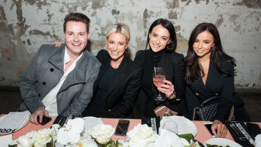 (L-R) Sam Mangan, Roxy Jacenko, Alison Egan and Jess Palmer at a lunch for the launch of Sparkling White Smile's On The Go Textured Teeth Wipes at Chin Chin on Tuesday.