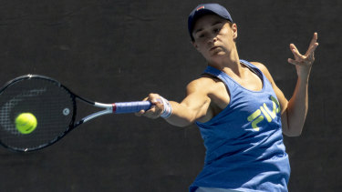 Time to shine: Ashleigh Barty prepares for her Australian Open quarter-final at Melbourne Park on Monday.