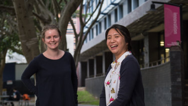 Agriculture students Emily White and Ingrid Zamora, at Australian Technology Park.