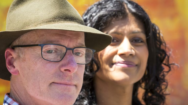 Greens candidate Dr Tim Read and party leader Samantha Ratnam declaring victory in the seat of Brunswick on Saturday.