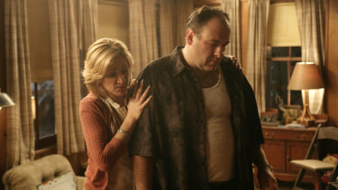 Edie Falco and James Gandolfini as Carmela and Tony Soprano.