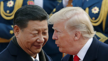 US President Trump meeting Chinese President Xi.