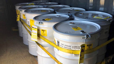 Drums of treated radioactive waste ready for transport to a permanent storage site at Los Alamos National Laboratory in the US.