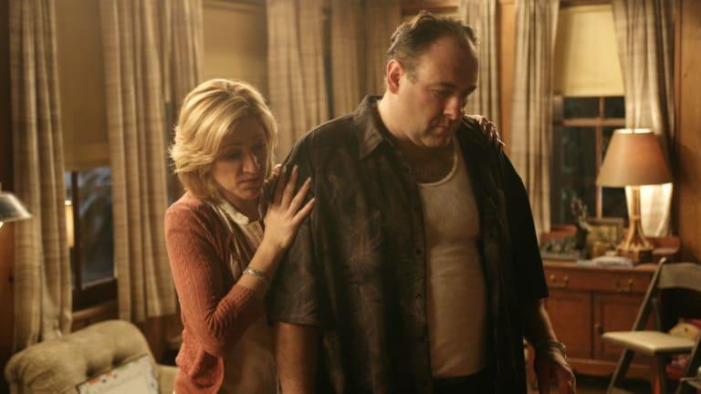 Edie Falco and James Gandolfini as Carmela and Tony Soprano.