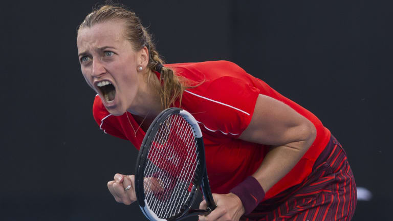 Pumped: Petra Kvitova of Czechoslovakia reacts after winning the women's final against Ash Barty.