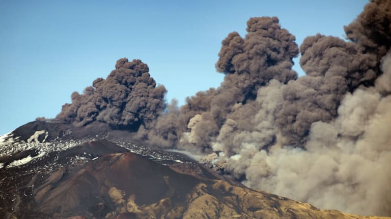 Mt Etna has been rumblings for days. Smoke billowed out of the notorious volcano on Monday.