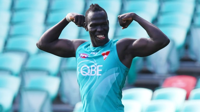 Ready to go: Aliir Aliir at Swans training.