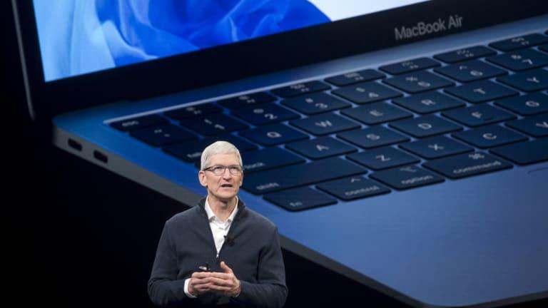Apple CEO Tim Cook announces the new MacBook Air.