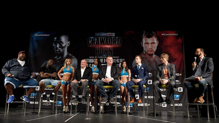 Outsider: Few in the US are giving Horn (third from right) a chance against Terence Crawford.