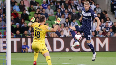 Toivonen finds space in front of City keeper Eugene Galekovic.