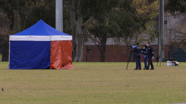 Police established a crime scene after a woman's body was found on the soccer pitch in Princes Park just before 3am on Wednesday.