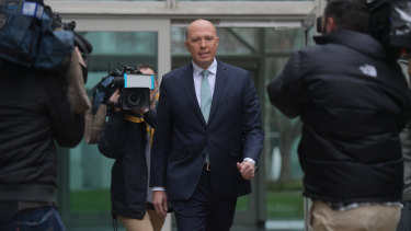 Former home affairs minister Peter Dutton addresses the media on Thursday morning.