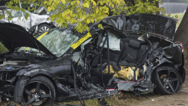 The couple's Commodore at the scene of the crash in Wantirna South.