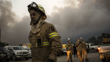 A firefighter group set before heading towards the fire at the village of Monchique.