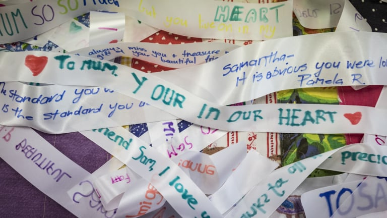 A ribbon painted by Samantha Fraser's children will be among those sewn into a quilt.