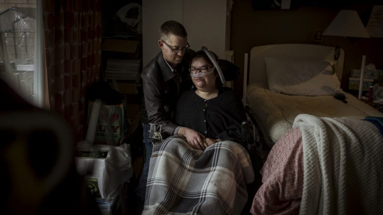 Alysia Kaiser, who has muscular dystrophy, can't live at home with her husband without the equipment she needs.