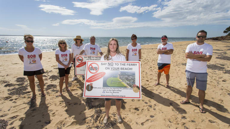 Kasey Burrell and members of the Save Our Beaches group on Osbourne Beach.