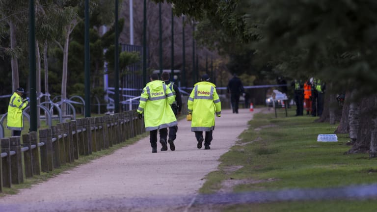 Police closed parts of the park's running track as they investigated the woman's death.