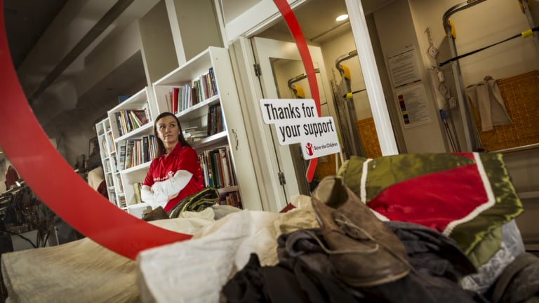 Save the Children's Kellie Wheeler at the charity's Brunswick op shop.