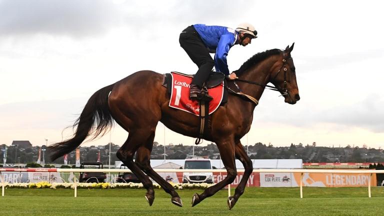 Jockey Hugh Bowman rides Winx at Moonee Valley on Tuesday ahead of Saturday's Cox Plate.
