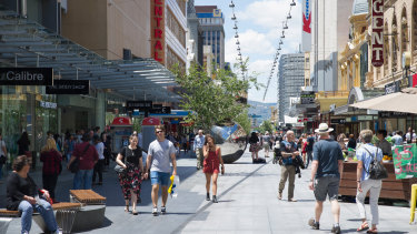 Adelaide's Rundle Mall. South Australia has overtaken Queensland.