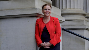 Jane Garrett outside State Parliament on Tuesday.