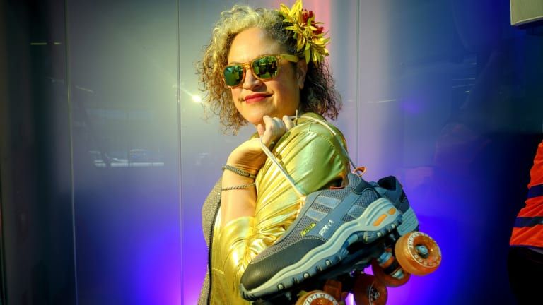 Kylie Auldist bought disco shoes for Bad Girls Disco x Roller Hours at Melbourne Music Week.
