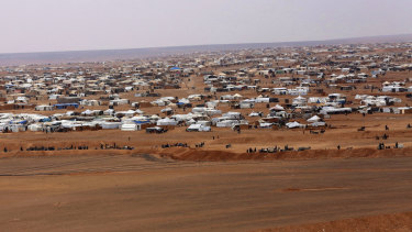 The remote Rukban refugee camp near the Syria-Jordan border was cut off from humanitarian support for months at a time during 2018.