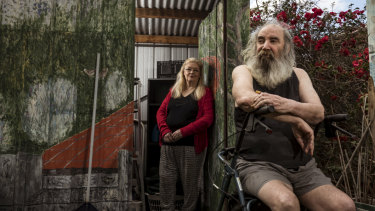 Public housing tenants Meredith Munro and Jason York want solar panels built on the roof of their sheds.
