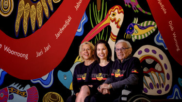 Uncle Kevin Coombs together with daughter Janine and granddaughter Kyeema urging Aboriginal people to vote for the First Peoples' Assembly.