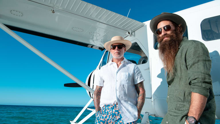Nick Wooster and Jimmy Niggles at the launch of Hamilton Island Race Week this week.