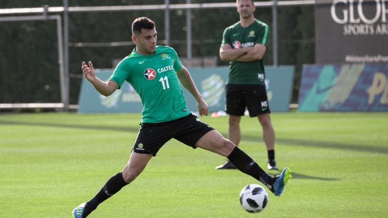 True blue: Andrew Nabbout trains with the Socceroos in Turkey.