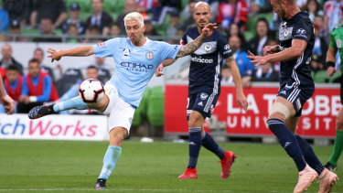 Melbourne City's Luke Brattan pulls the trigger.