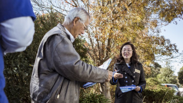 Liberal candidate for Chisholm Gladys Liu campaigning for voters on election day.