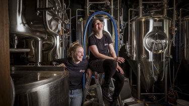 Chloe Stanzel and Emily Day will brew the first  batch of  their ''Chicks Stout'' at Burnley Brewers, Richmond.