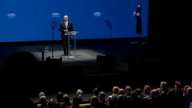 Prime Minister Scott Morrison speaks to the crowd in Melbourne.