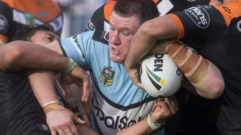 Big rig: Paul Gallen barges over the line to score against the Tigers.
