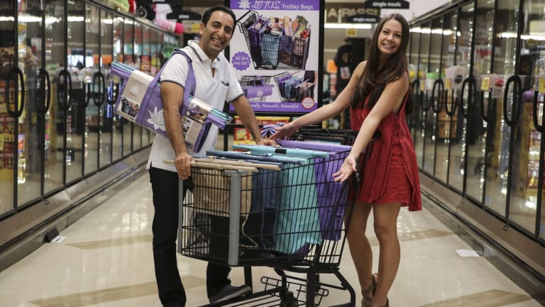 Farzan Dehmoubed andJennifer Duvall, the husband and wife team behind the Lotus Trolley Bag, which is available to customers in Australia from Sunday, October 14.