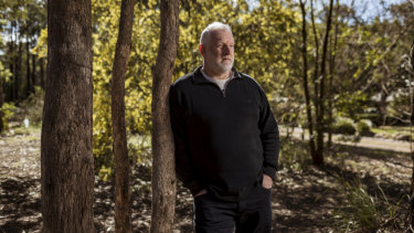 Fire engineer Bruce Thomas at his Kinglake West home on Sunday.