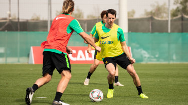 Rising in the Middle East: Robbie Kruse trains with the Socceroos in the UAE ahead of the Asian Cup.
