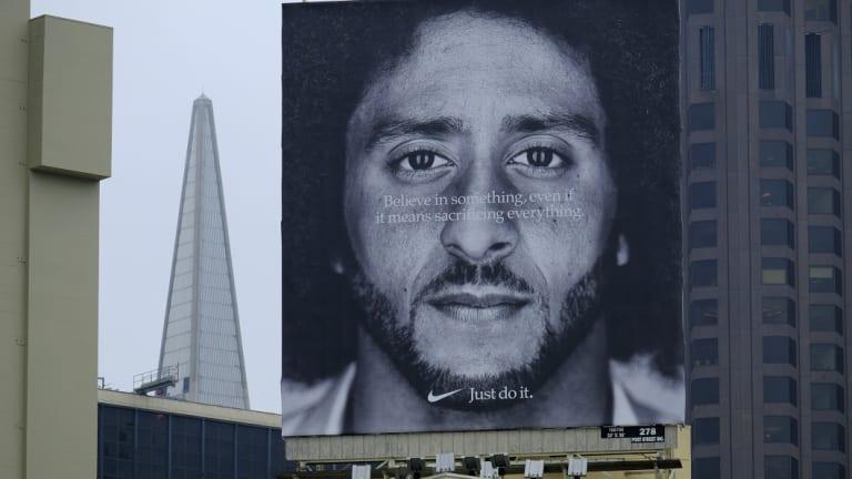 A Colin Kaepernick billboard on top of a Nike store in San Francisco.